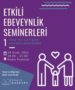 Etkili Ebeveyn Seminerleri 1 – Aile İçi İletişimi Kuvvetlendirmek – 19 Ocak 2021